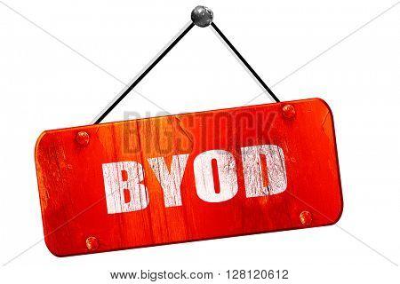 byod, 3D rendering, vintage old red sign