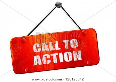 call to action, 3D rendering, vintage old red sign