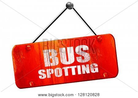 bus spotting, 3D rendering, vintage old red sign