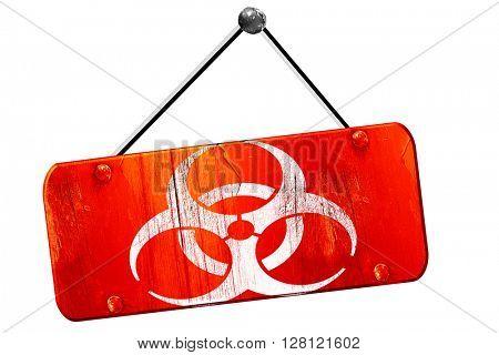 Bio hazard sign on a grunge , 3D rendering, vintage old red sign