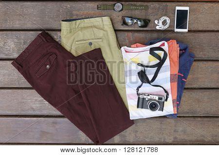 Essentials modern man kit on wooden background