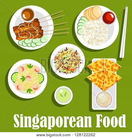 Singaporean national cuisine icon with roti prata bread with tartar sauce, grilled beef satay, served with peanut sauce and cucumbers, vegetable salad with smoked salmon, fried noodles with shrimps and chicken rice with tomato sauce. Flat style