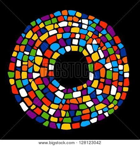 Mosaic colorful frame on black background. Mosaic creative texture. Mosaic design element for poster, greeting card, invitation. Mosaic bright circle