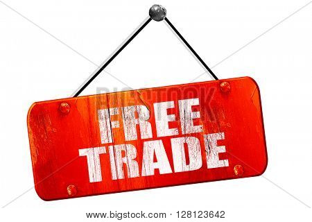 free trade, 3D rendering, vintage old red sign