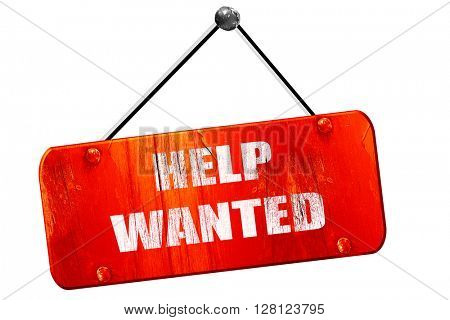 Help wanted sign, 3D rendering, vintage old red sign