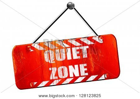 Quiet zone sign, 3D rendering, vintage old red sign