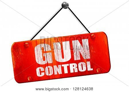 gun control, 3D rendering, vintage old red sign