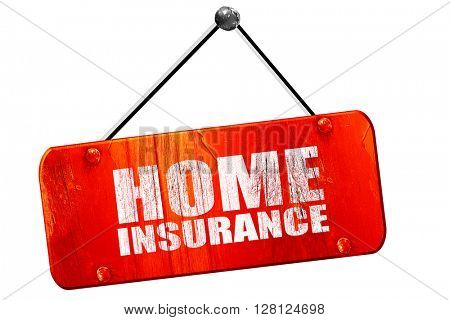 home insurance, 3D rendering, vintage old red sign