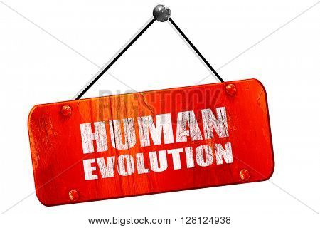 human evolution, 3D rendering, vintage old red sign