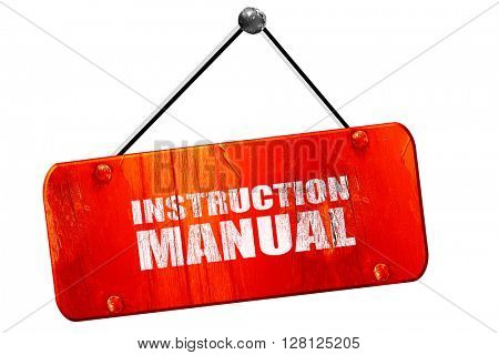 instruction manual, 3D rendering, vintage old red sign