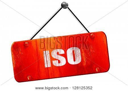 iso, 3D rendering, vintage old red sign
