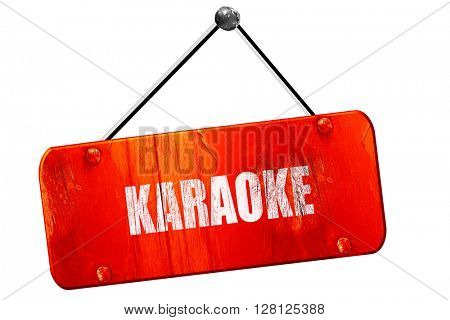 karaoke, 3D rendering, vintage old red sign