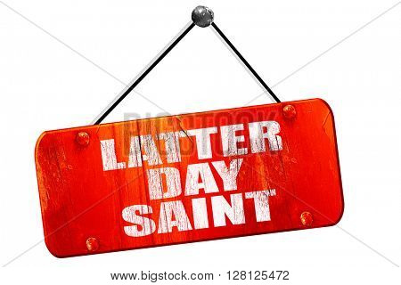 latter day saint, 3D rendering, vintage old red sign