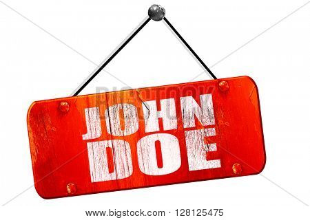John doe, 3D rendering, vintage old red sign