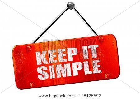 keep it simple, 3D rendering, vintage old red sign