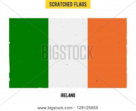 Irish grunge flag with little scratches on surface. A hand drawn scratched flag of Ireland with a easy grunge texture. Vector modern flat design.