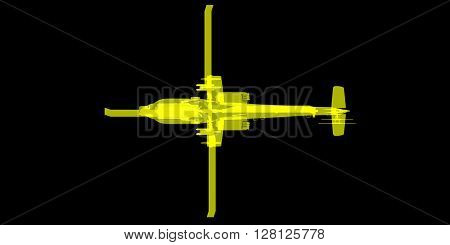3D rendering X-ray image of attack helicopter