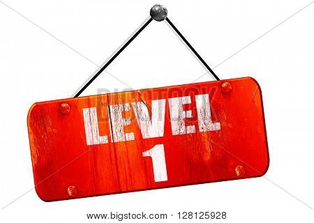 level 1, 3D rendering, vintage old red sign