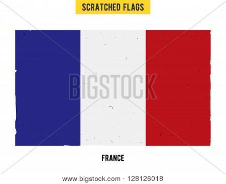 French grunge flag with little scratches on surface. A hand drawn scratched flag of France with a easy grunge texture. Vector modern flat design.