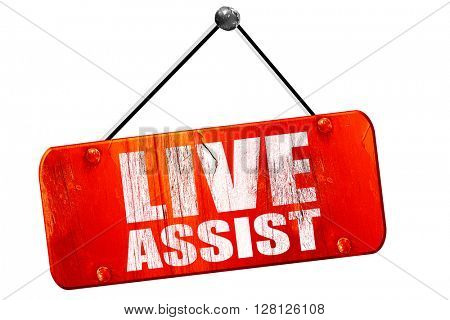 live assist, 3D rendering, vintage old red sign