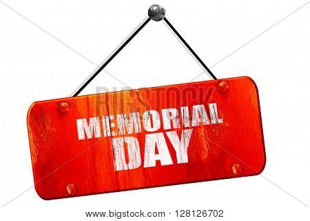 memorial day, 3D rendering, vintage old red sign
