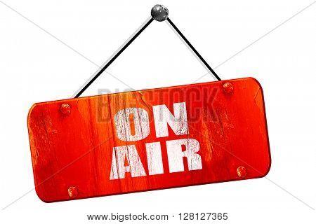 on air, 3D rendering, vintage old red sign