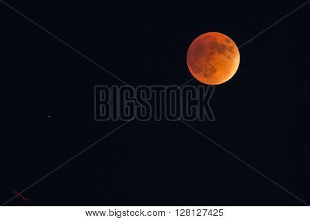 Red and super moon during moon eclipse