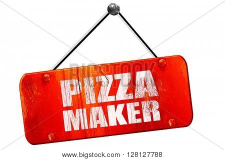 pizza maker, 3D rendering, vintage old red sign