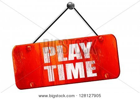 play time, 3D rendering, vintage old red sign