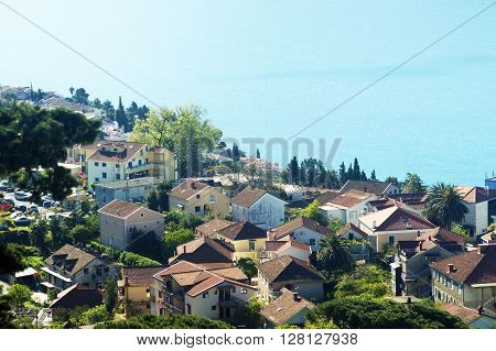 View on the roofs of houses of the city of Herceg Novi (Montenegro)