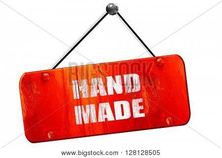 hand made sign, 3D rendering, vintage old red sign