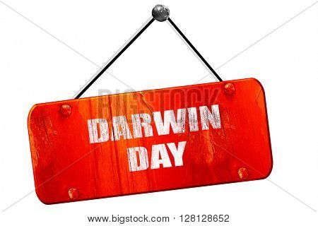 darwin day, 3D rendering, vintage old red sign