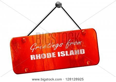 Greetings from rhode island, 3D rendering, vintage old red sign