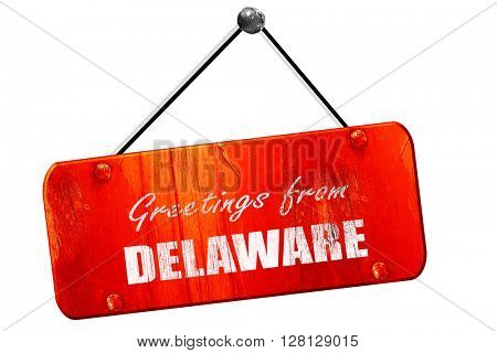 Greetings from delaware, 3D rendering, vintage old red sign