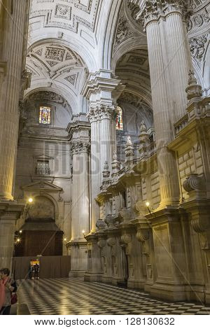 JAEN, SPAIN - may 2 2016: Detail of vault center of the main nave that covers the choir in the Cathedral of Jaen, works of Andres de Vandelvira, influence that he exercised in many churches built in America in the second half of the XVI century, Spain