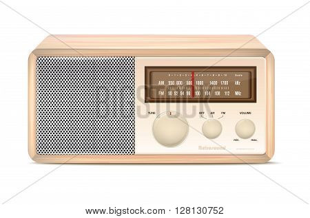 Wooden Abstract Vintage Radio On White Background