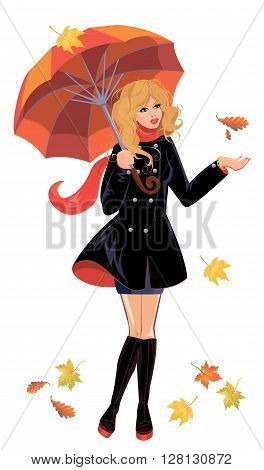 Girl with umbrella isolated on white background autumn season.