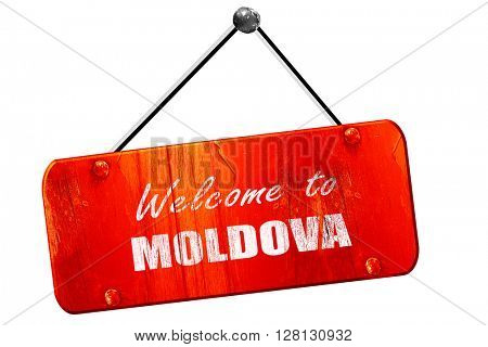 Welcome to moldova, 3D rendering, vintage old red sign