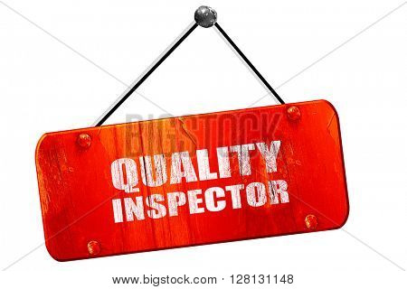 quality inspector, 3D rendering, vintage old red sign