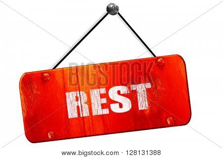 rest, 3D rendering, vintage old red sign