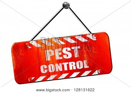 Pest control , 3D rendering, vintage old red sign