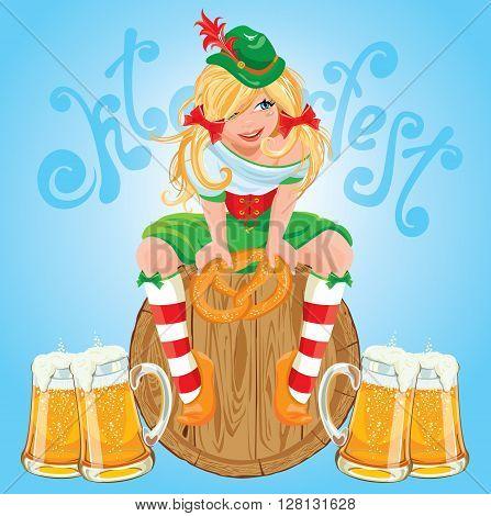 Pretty Bavarian girl with beer and pretzel Oktoberfest card.