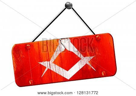 Masonic freemasonry symbol, 3D rendering, vintage old red sign