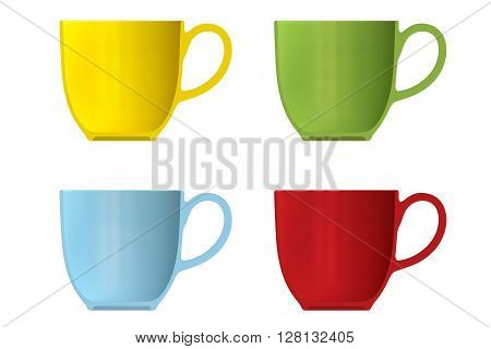 Shape Empty Cup In Cut On Clean Background.