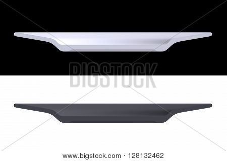 Shape empty plate in cut on clean background. Half plate of front side view. Blank to display recipes and food. 3D Rendering.