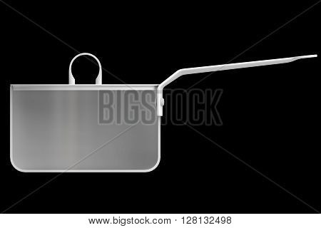 Shape empty pan in cut on clean background. Half pans of front side view. Blank to display recipes and food. 3D Rendering.