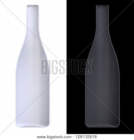 Shape Empty Cocktail Bottle In Cut On Clean Background.