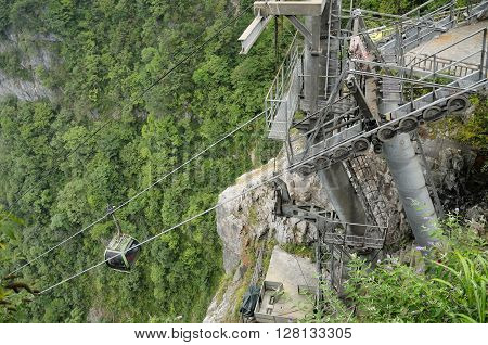 The structural supports on the gondola going up and down Tianmenshan (tianmen mountain) located in the city of Zhangjiajie Hunan province China.