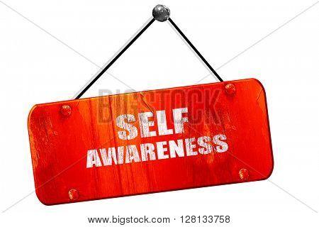 self awareness, 3D rendering, vintage old red sign