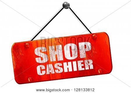 shop cashier, 3D rendering, vintage old red sign